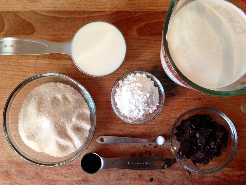 Ingredients for Rich Chocolate Pudding